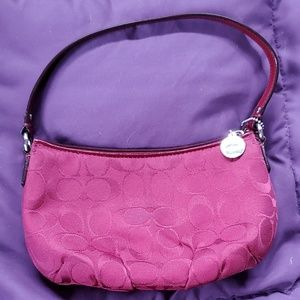 Coach Small Maroon Zippered Signature C Purse